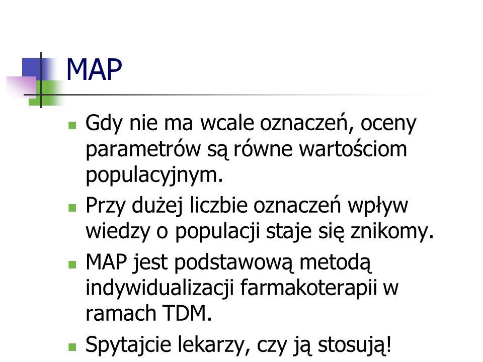 MAP Gdy nie ma wcale oznaczeń, oceny parametrów są równe wartościom populacyjnym.