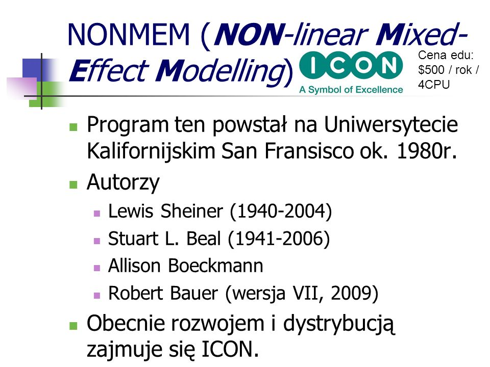 NONMEM (NON-linear Mixed-Effect Modelling)