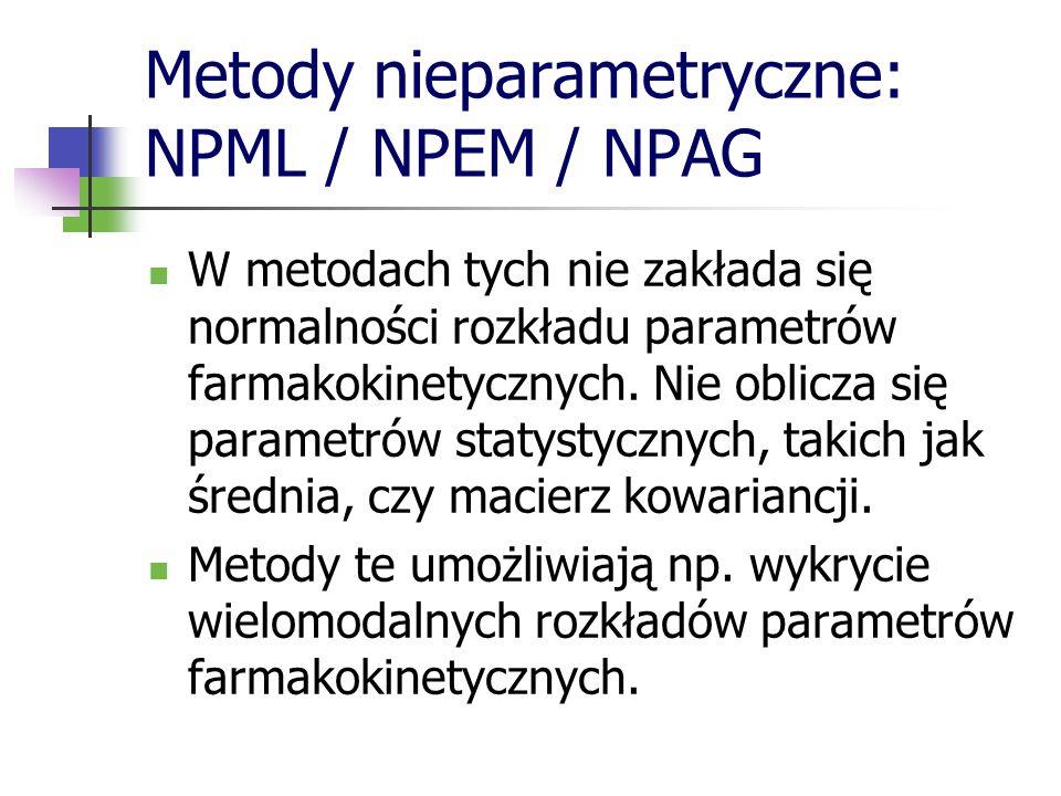 Metody nieparametryczne: NPML / NPEM / NPAG