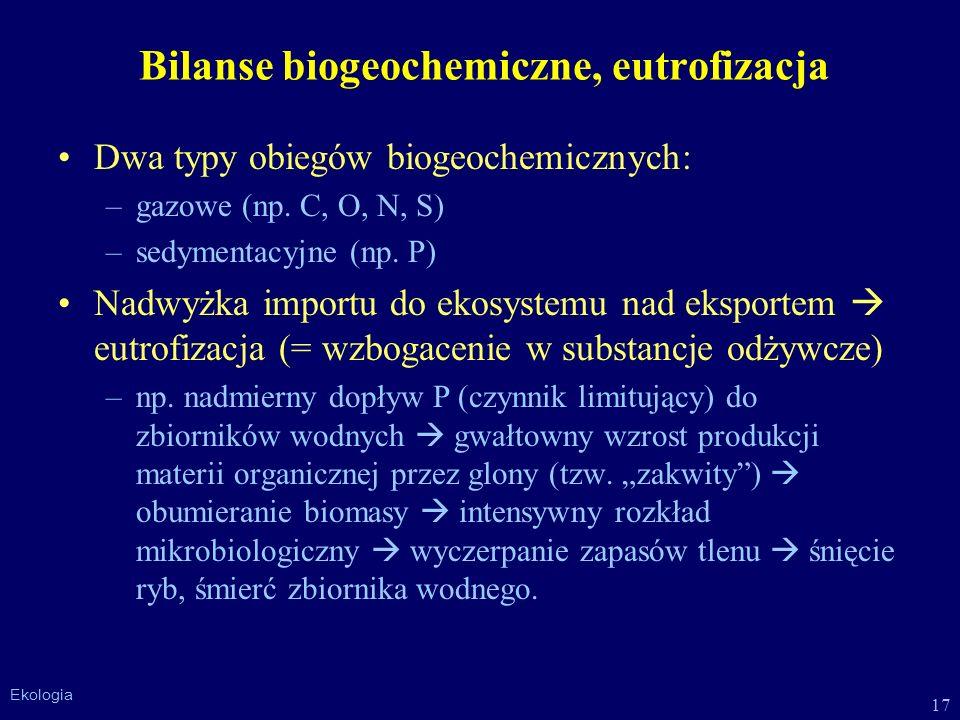 Bilanse biogeochemiczne, eutrofizacja