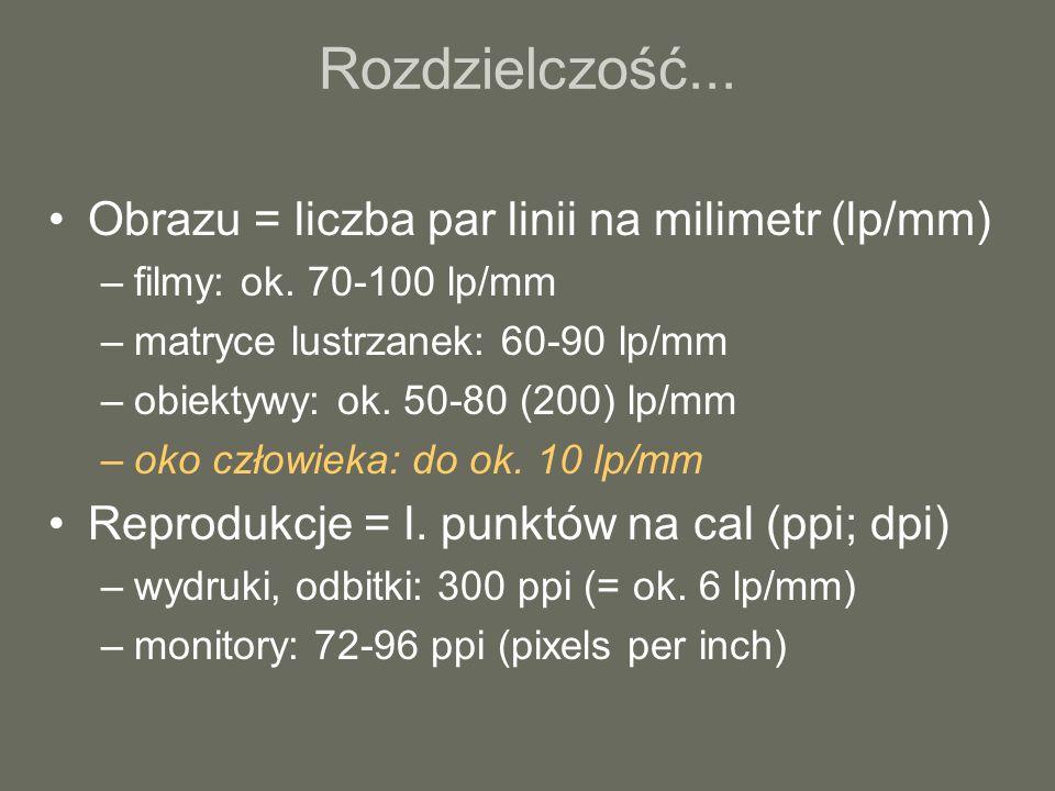 Rozdzielczość... Obrazu = liczba par linii na milimetr (lp/mm)