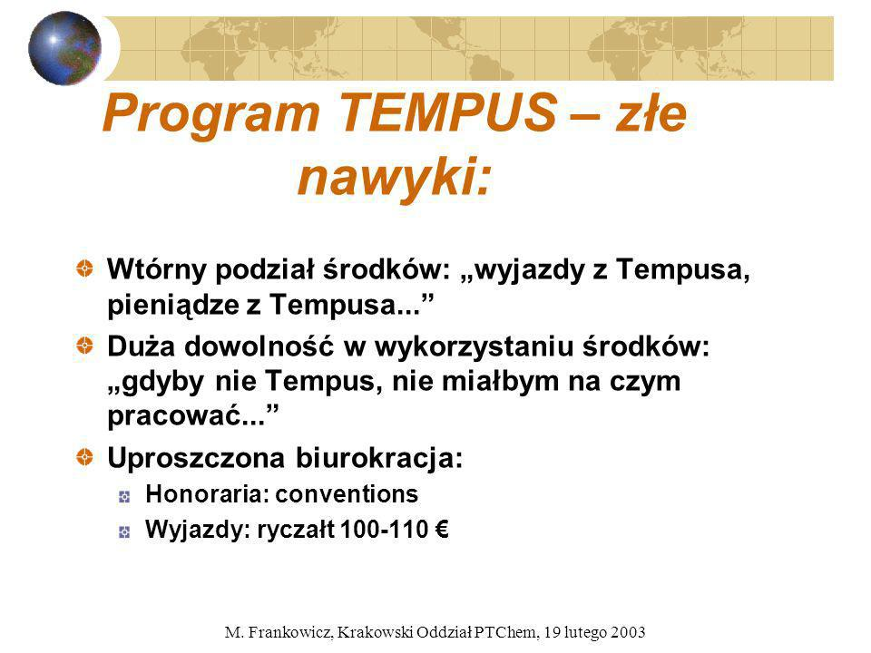 Program TEMPUS – złe nawyki: