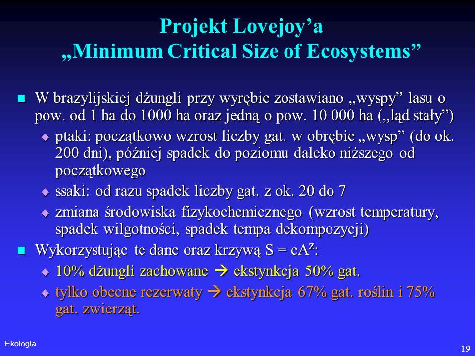 "Projekt Lovejoy'a ""Minimum Critical Size of Ecosystems"