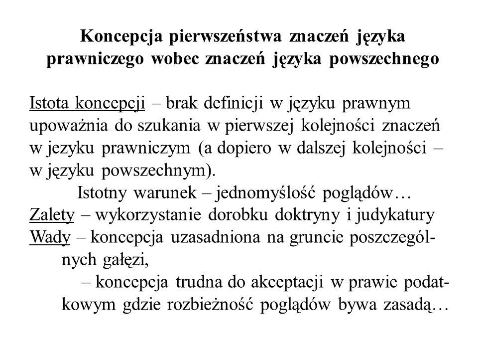 Koncepcja pierwszeństwa znaczeń języka prawniczego wobec znaczeń języka powszechnego