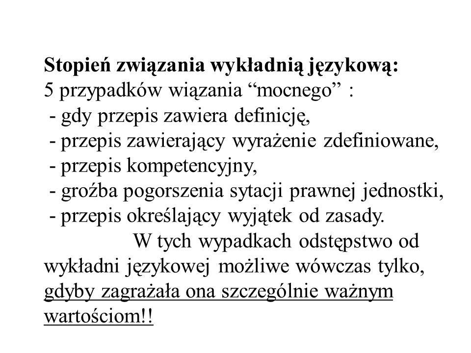 Stopień związania wykładnią językową: