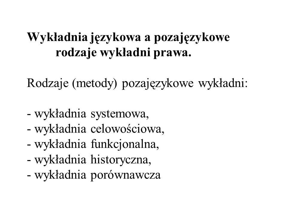 Wykładnia językowa a pozajęzykowe. rodzaje wykładni prawa