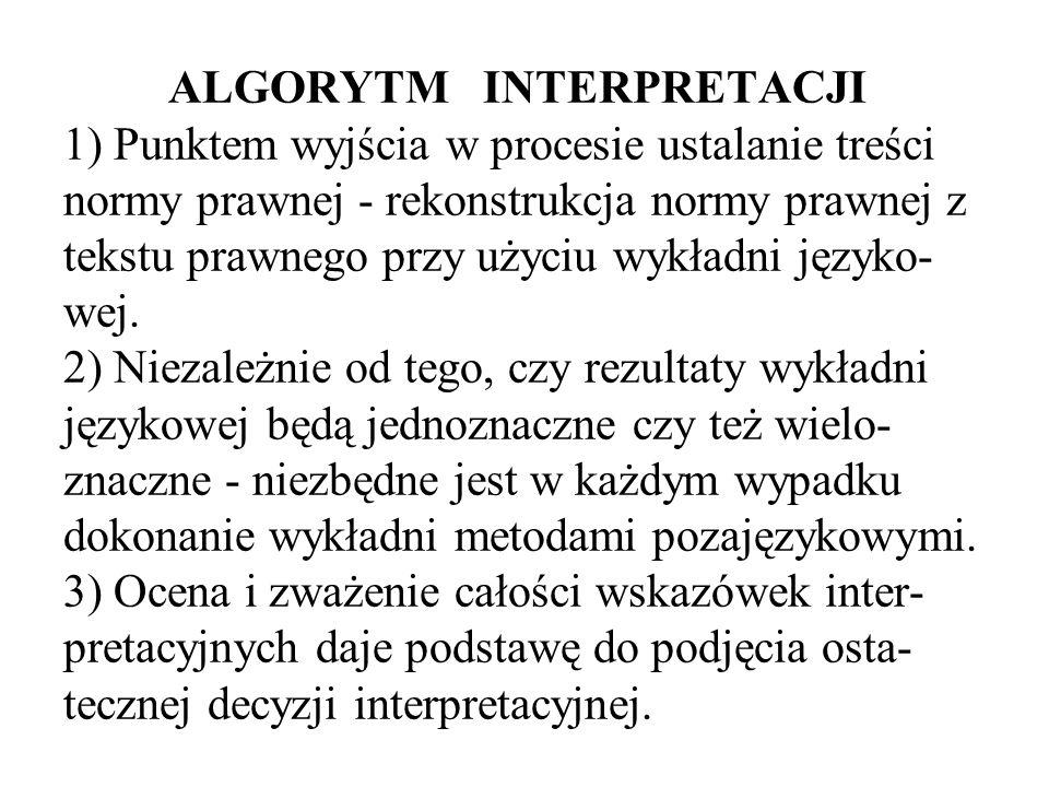 ALGORYTM INTERPRETACJI 1) Punktem wyjścia w procesie ustalanie treści normy prawnej - rekonstrukcja normy prawnej z tekstu prawnego przy użyciu wykładni języko- wej.