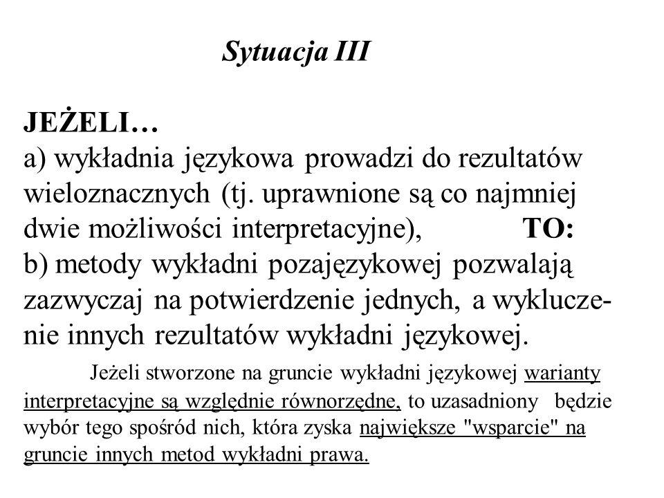 Sytuacja III JEŻELI… a) wykładnia językowa prowadzi do rezultatów wieloznacznych (tj.