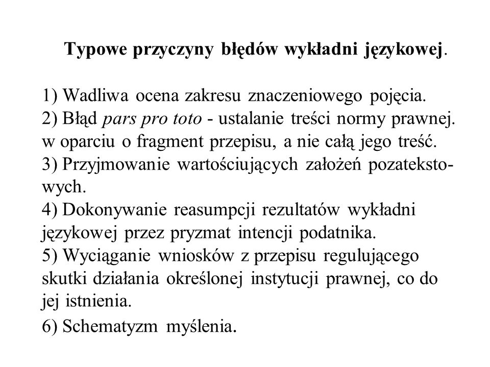 Typowe przyczyny błędów wykładni językowej