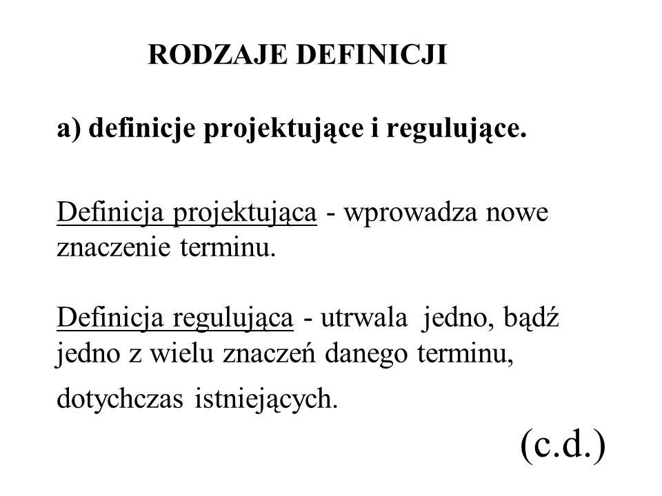 RODZAJE DEFINICJI a) definicje projektujące i regulujące