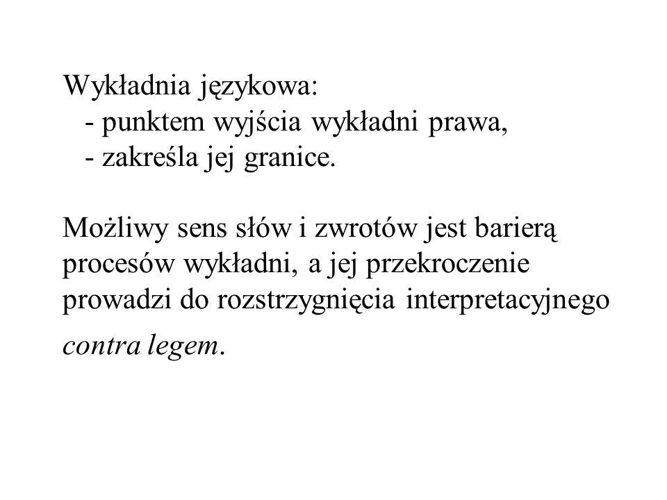 Wykładnia językowa: - punktem wyjścia wykładni prawa, - zakreśla jej granice.