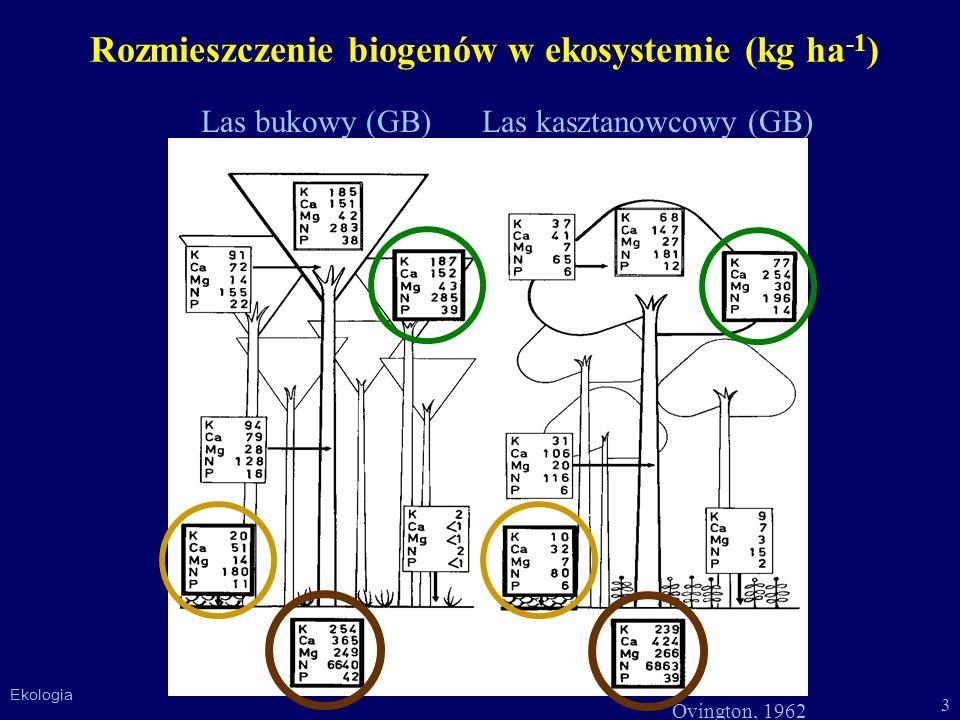 Rozmieszczenie biogenów w ekosystemie (kg ha-1)