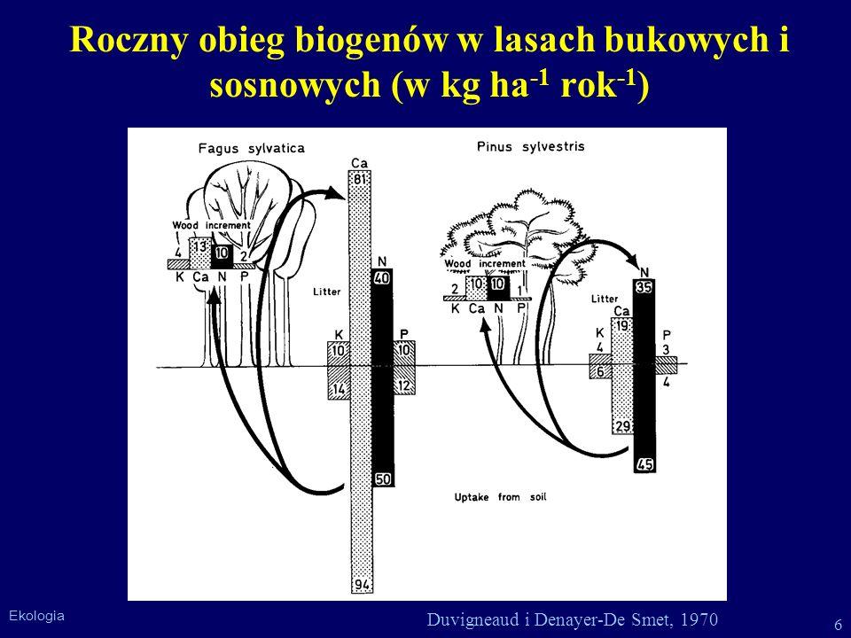Roczny obieg biogenów w lasach bukowych i sosnowych (w kg ha-1 rok-1)