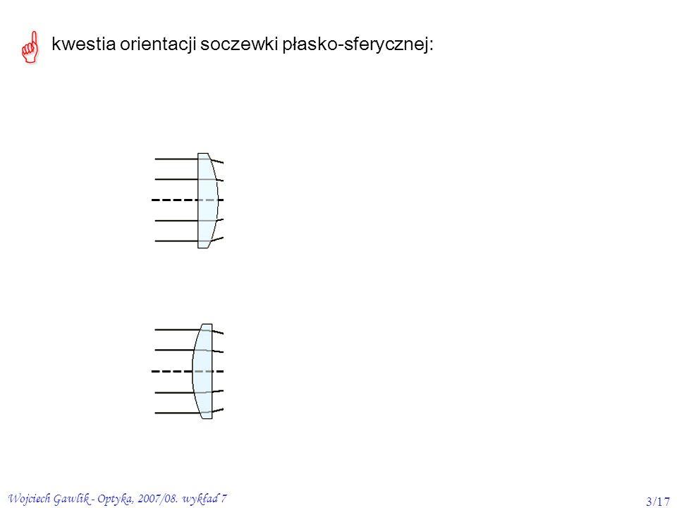 kwestia orientacji soczewki płasko-sferycznej: