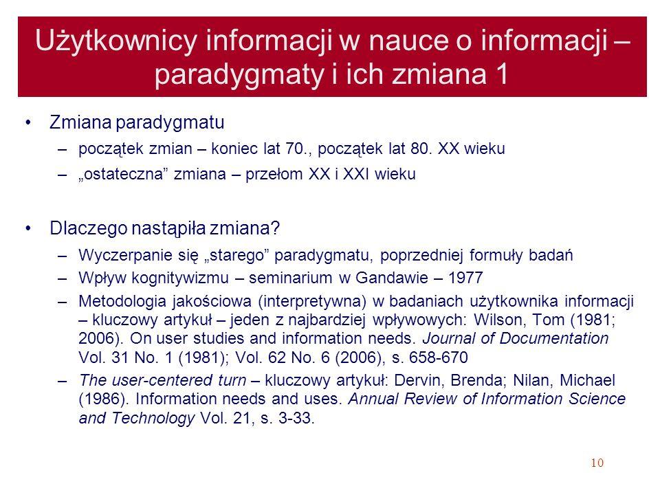 Użytkownicy informacji w nauce o informacji – paradygmaty i ich zmiana 1