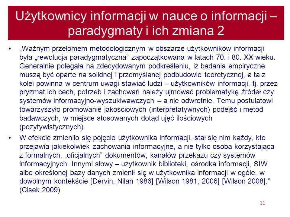 Użytkownicy informacji w nauce o informacji – paradygmaty i ich zmiana 2