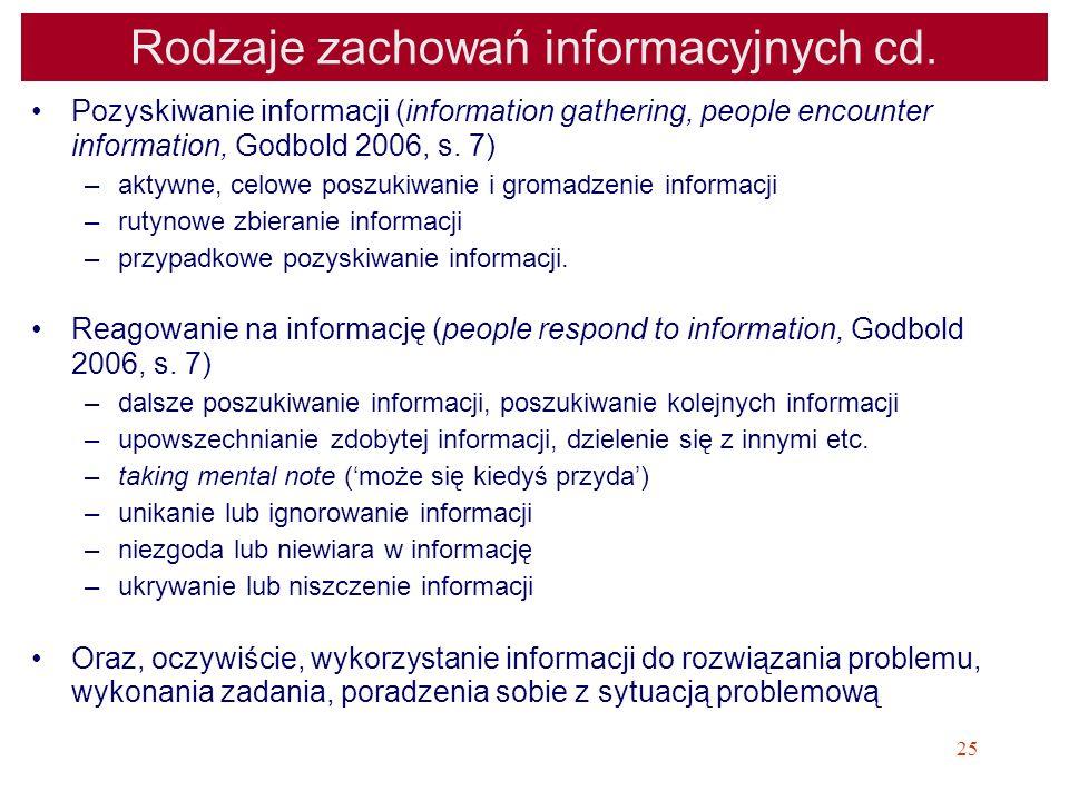 Rodzaje zachowań informacyjnych cd.