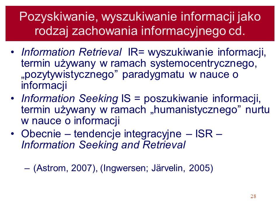 Pozyskiwanie, wyszukiwanie informacji jako rodzaj zachowania informacyjnego cd.