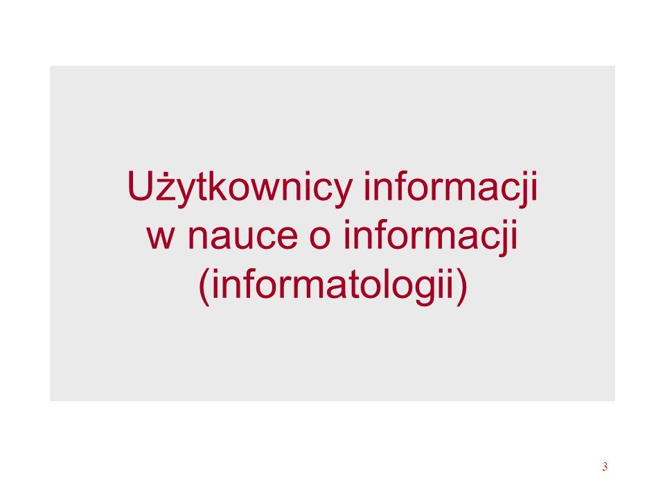 Użytkownicy informacji w nauce o informacji (informatologii)
