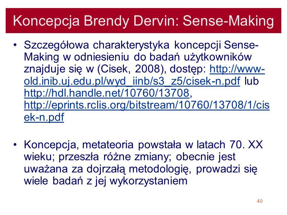 Koncepcja Brendy Dervin: Sense-Making