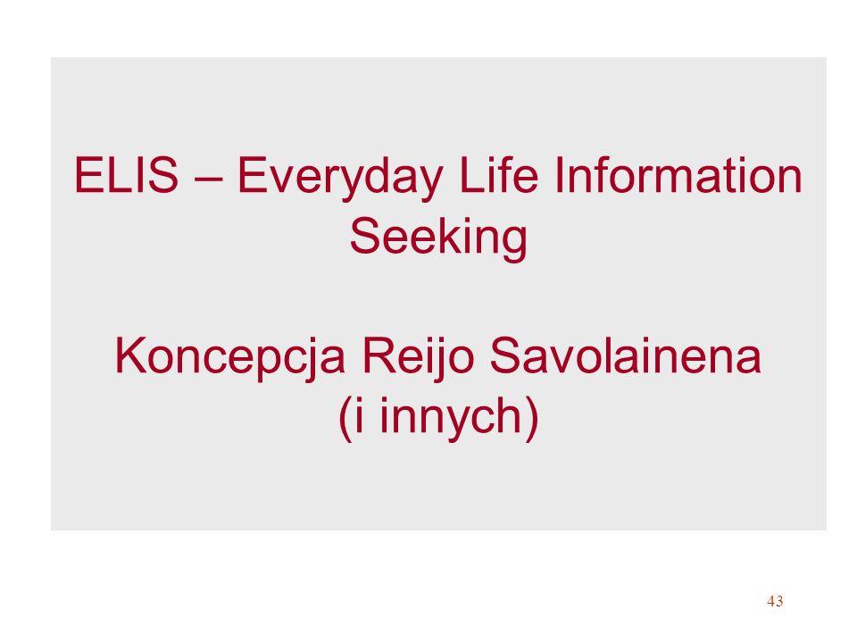 ELIS – Everyday Life Information Seeking Koncepcja Reijo Savolainena (i innych)