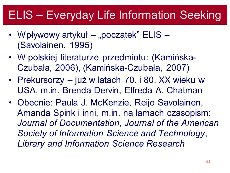 ELIS – Everyday Life Information Seeking
