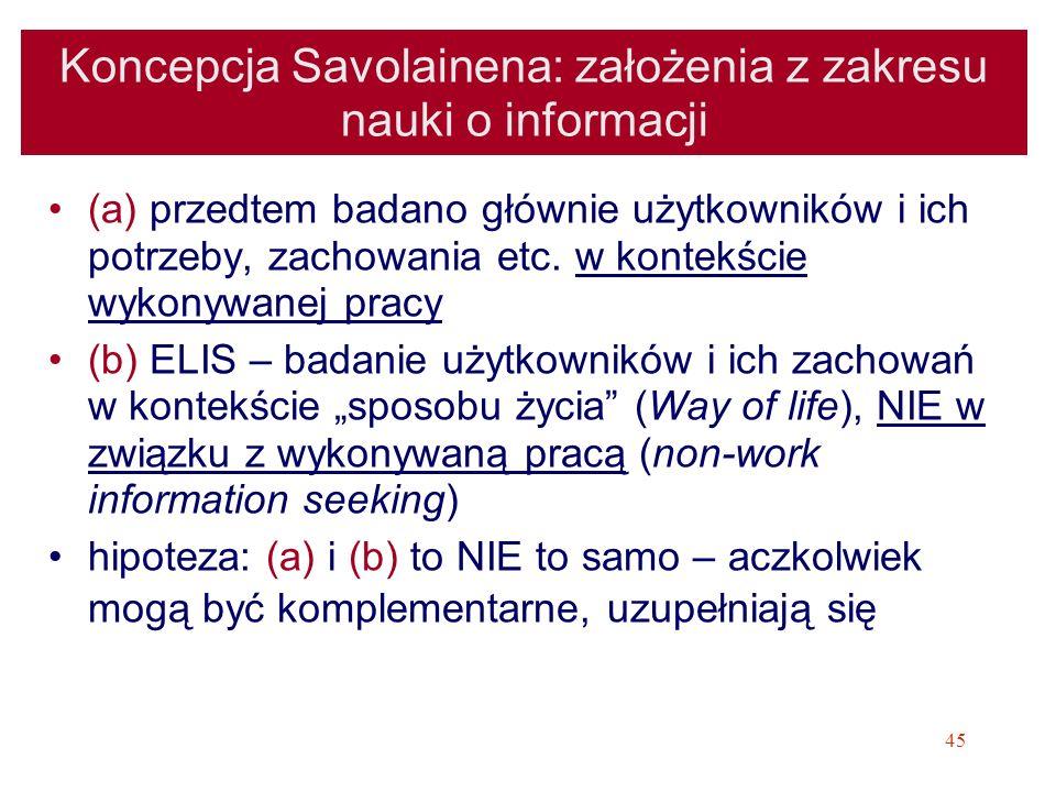 Koncepcja Savolainena: założenia z zakresu nauki o informacji