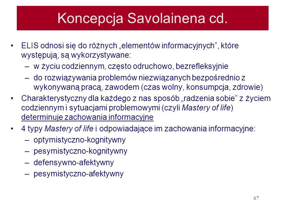 Koncepcja Savolainena cd.