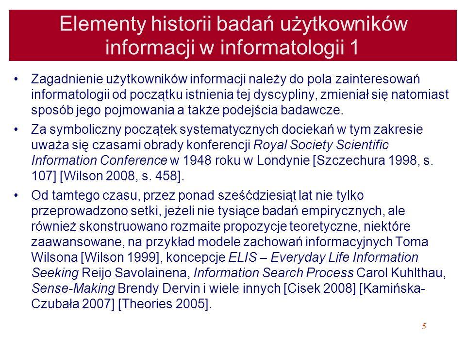Elementy historii badań użytkowników informacji w informatologii 1