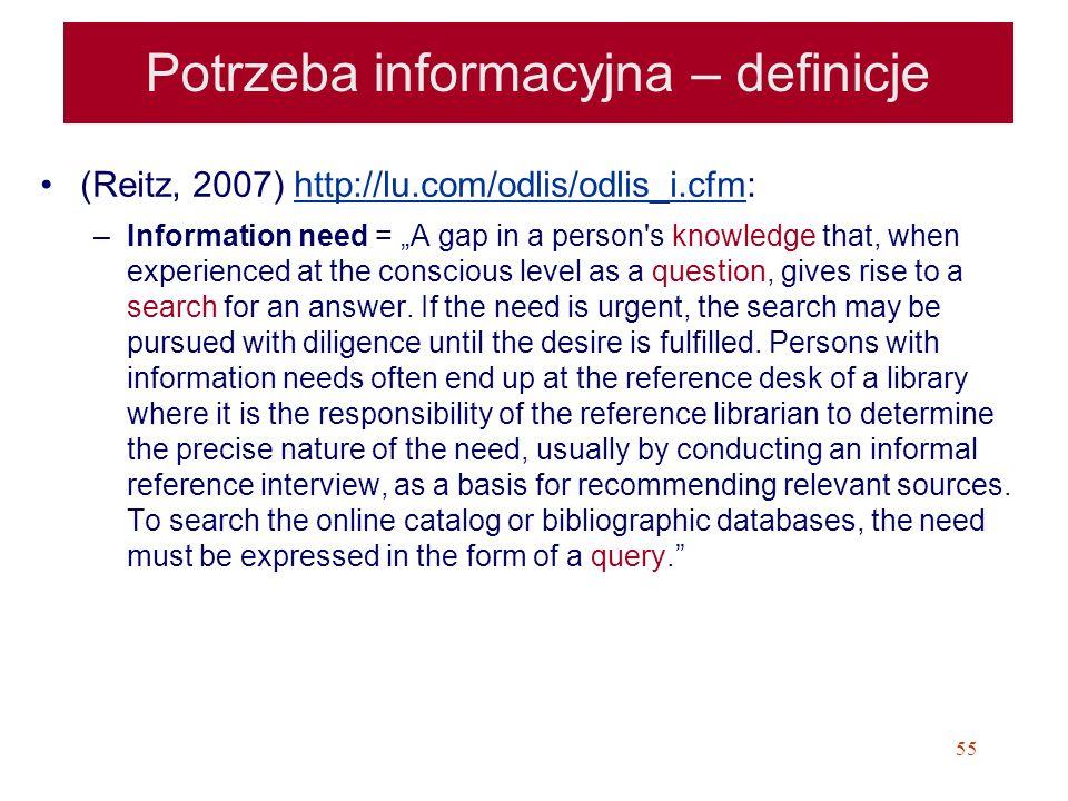 Potrzeba informacyjna – definicje