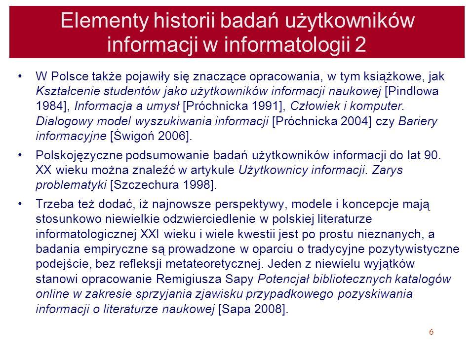 Elementy historii badań użytkowników informacji w informatologii 2