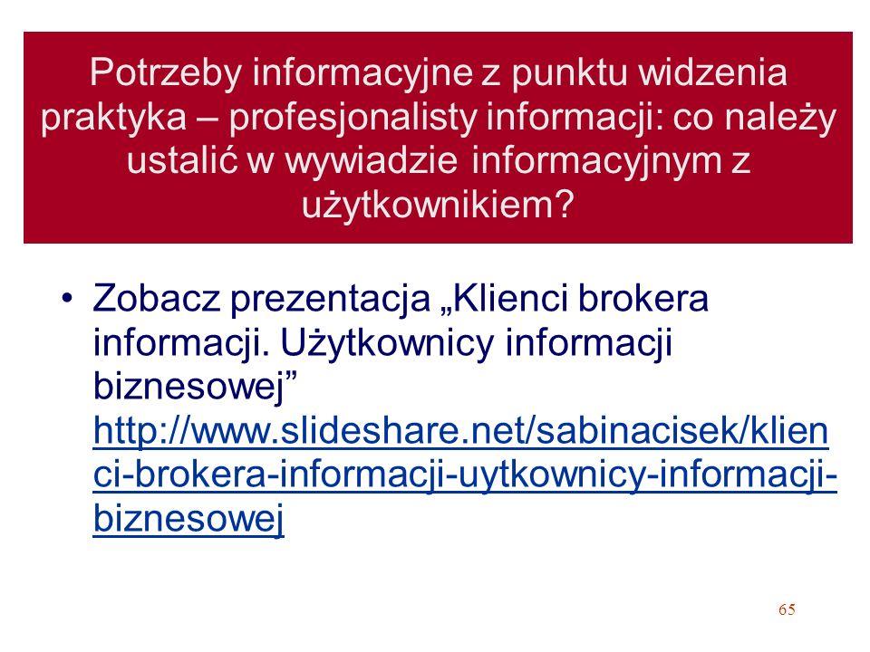Potrzeby informacyjne z punktu widzenia praktyka – profesjonalisty informacji: co należy ustalić w wywiadzie informacyjnym z użytkownikiem