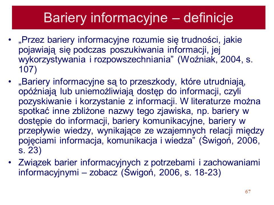 Bariery informacyjne – definicje