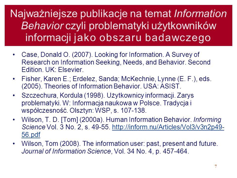 Najważniejsze publikacje na temat Information Behavior czyli problematyki użytkowników informacji jako obszaru badawczego