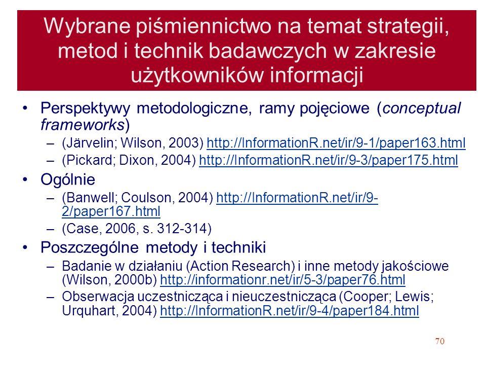 Wybrane piśmiennictwo na temat strategii, metod i technik badawczych w zakresie użytkowników informacji