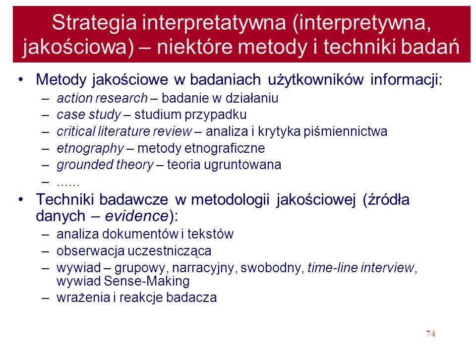 Strategia interpretatywna (interpretywna, jakościowa) – niektóre metody i techniki badań