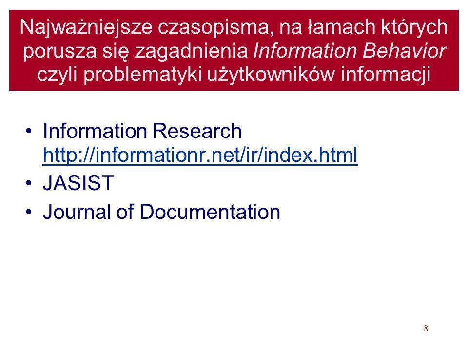 Najważniejsze czasopisma, na łamach których porusza się zagadnienia Information Behavior czyli problematyki użytkowników informacji