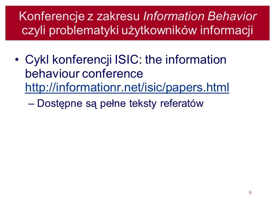 Konferencje z zakresu Information Behavior czyli problematyki użytkowników informacji