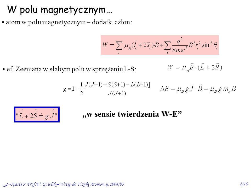 """W polu magnetycznym… """"w sensie twierdzenia W-E"""