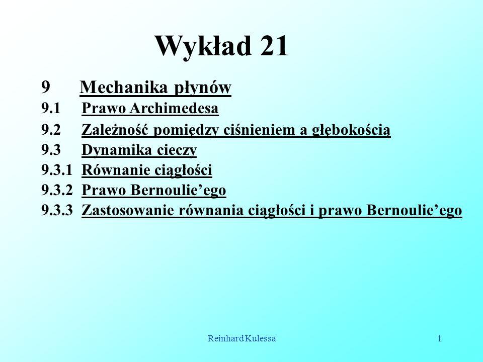 Wykład 21 Mechanika płynów 9.1 Prawo Archimedesa
