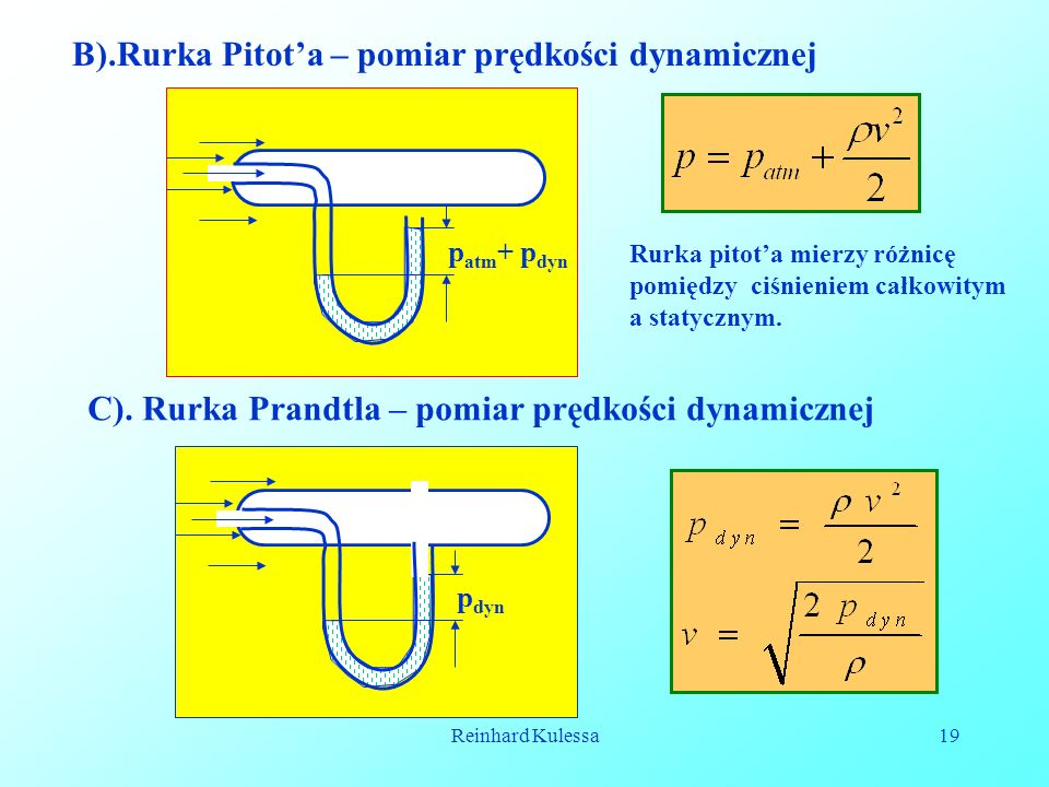 B).Rurka Pitot'a – pomiar prędkości dynamicznej