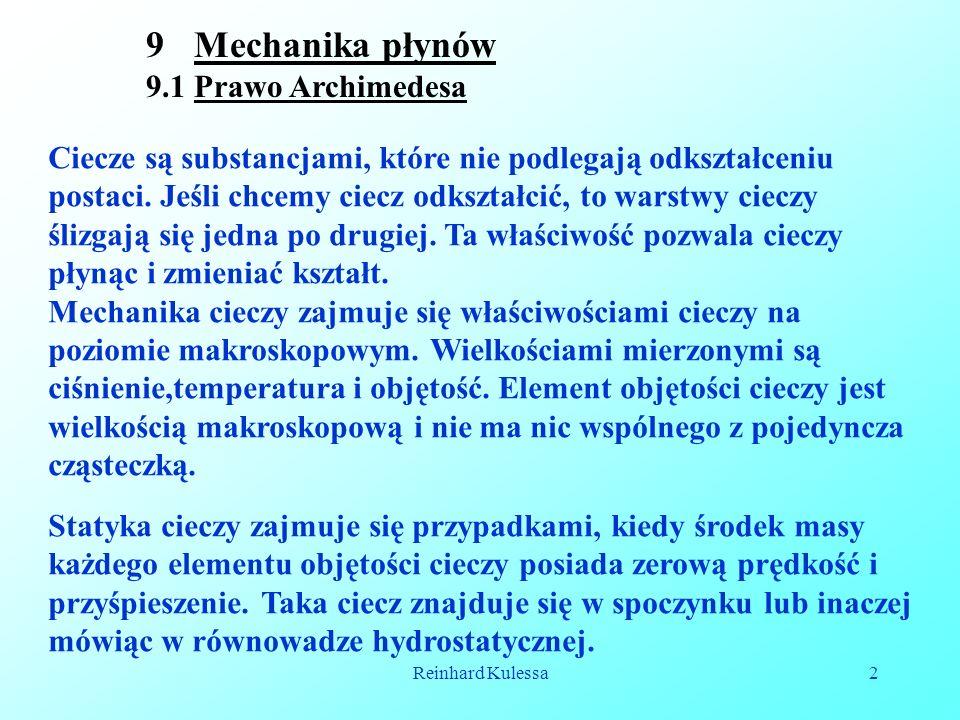 Mechanika płynów 9.1 Prawo Archimedesa