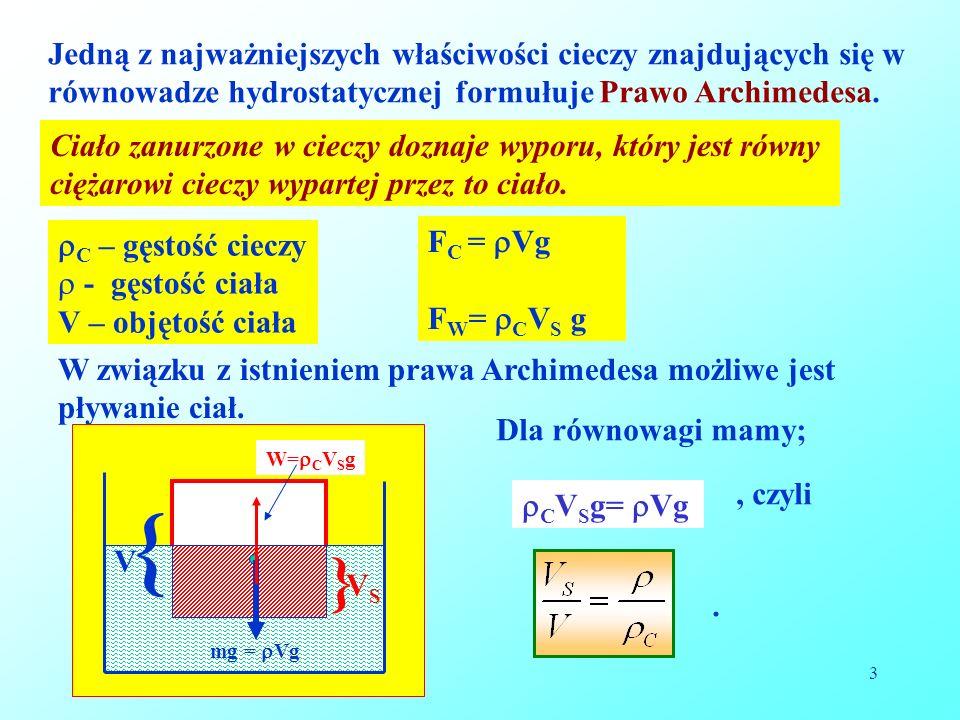 Jedną z najważniejszych właściwości cieczy znajdujących się w równowadze hydrostatycznej formułuje Prawo Archimedesa.