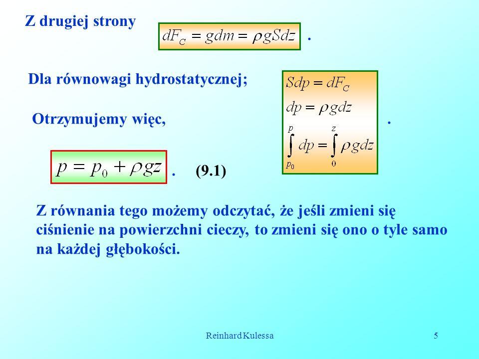 Dla równowagi hydrostatycznej;