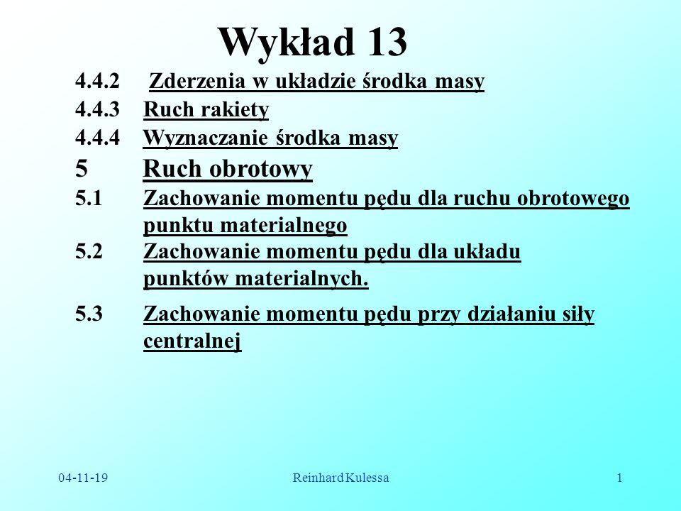 Wykład 13 Ruch obrotowy 4.4.2 Zderzenia w układzie środka masy