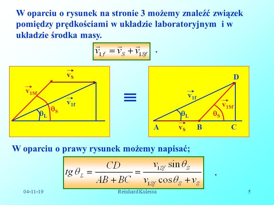 W oparciu o rysunek na stronie 3 możemy znaleźć związek pomiędzy prędkościami w układzie laboratoryjnym i w układzie środka masy.