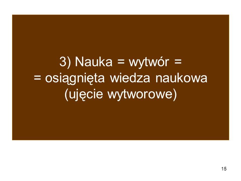 3) Nauka = wytwór = = osiągnięta wiedza naukowa (ujęcie wytworowe)