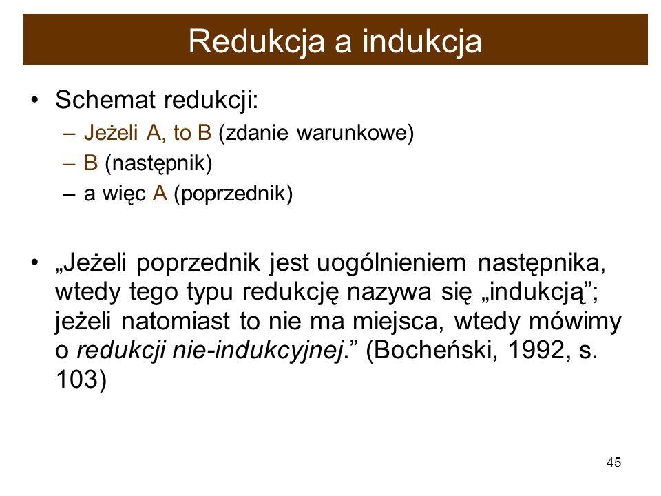 Redukcja a indukcja Schemat redukcji: