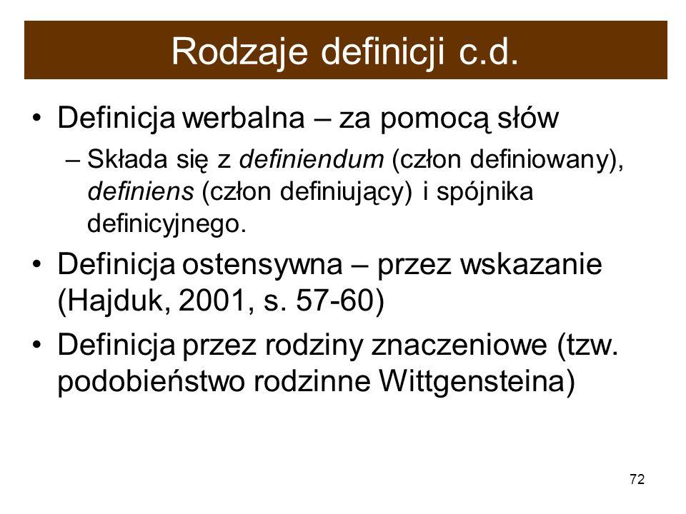 Rodzaje definicji c.d. Definicja werbalna – za pomocą słów