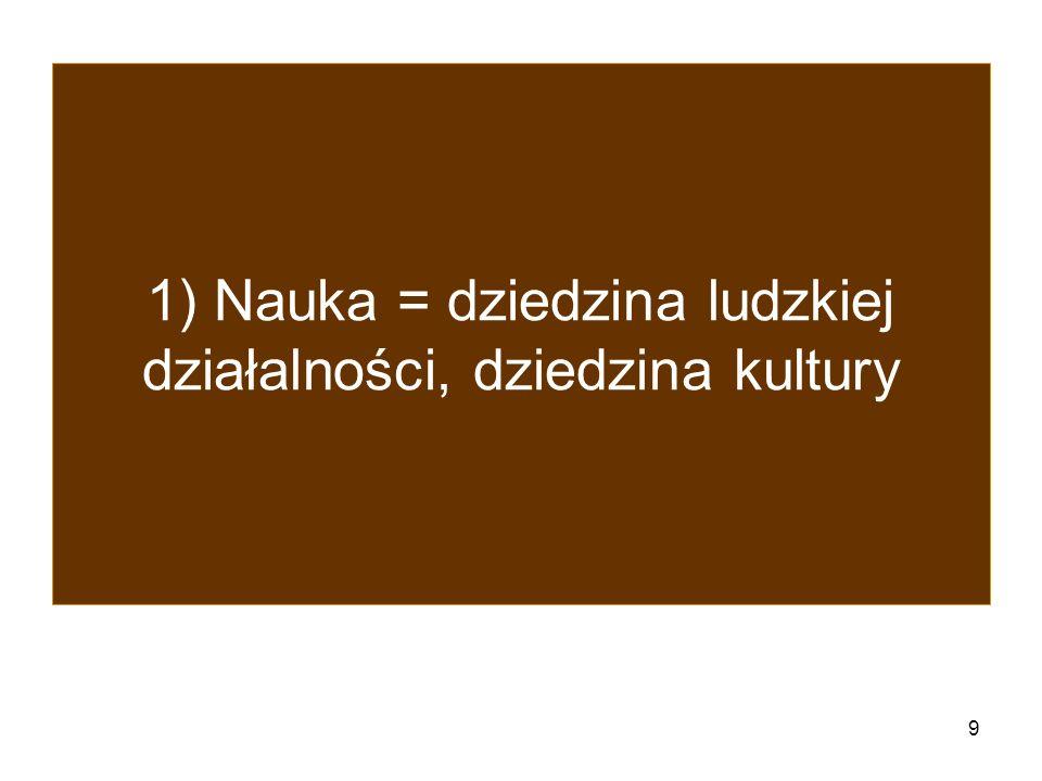 1) Nauka = dziedzina ludzkiej działalności, dziedzina kultury